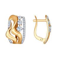Золотые серьги с фианитами ДИ027561
