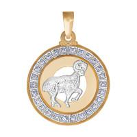 Золотой знак зодиака с фианитами ДИ032491