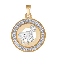 Золотой знак зодиака «овен» с фианитами ДИ032491