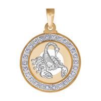 Золотой знак зодиака «скорпион» с фианитами ДИ032498