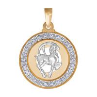 Золотой знак зодиака «козерог» с фианитами ДИ032500