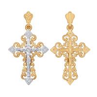 Золотой крест с фианитами ДИ120112