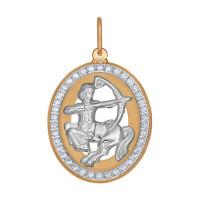 Золотой знак зодиака «стрелец» с фианитами ДИ033545