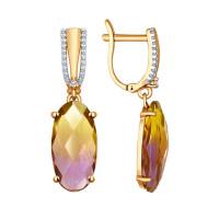 Золотые серьги подвесные с фианитами и ситалом ДИ724210