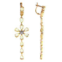 Золотые серьги подвесные с кварцем и фианитами ДИ724391