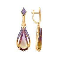 Золотые серьги подвесные с фианитами и ситалом ДИ724463