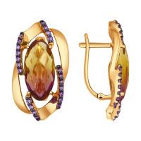 Золотые серьги с аметринами и фианитами ДИ724470