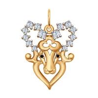 Золотой знак зодиака «овен» с фианитами ДИ035123