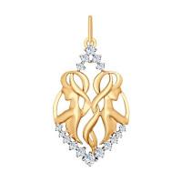 Золотой знак зодиака «близнецы» с фианитами ДИ035125