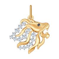 Золотой знак зодиака «лев» с фианитами