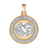 Золотой знак зодиака «рыбы» с фианитами ДИ032502