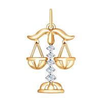 Золотой знак зодиака «весы» с фианитами ДИ035129