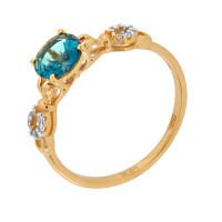 Золотое кольцо с топазами и фианитами ДИ713807