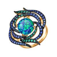 Золотое кольцо с опалами и фианитами ДИ714379