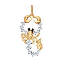 Золотой знак зодиака «скорпион» с фианитами ДИ035130