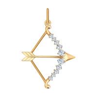 Золотой знак зодиака «стрелец» с фианитами ДИ035131