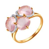 Золотое кольцо с кварцем и фианитами ДИ713762