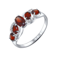 Серебряное кольцо с гранатами и фианитами ДИ92011009