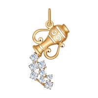 Золотой знак зодиака «водолей» с фианитами