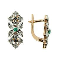 Золотые серьги с изумрудами и бриллиантами ЮЗ2-31-0021-120