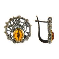Серебряные серьги с янтарем ЯН72131059