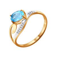 Золотое кольцо с топазами и фианитами ДИ713841