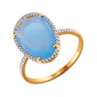 Золотое кольцо с кварцем и фианитами ДИ713894