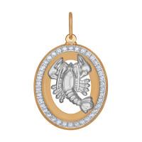 Золотой знак зодиака «рак» с фианитами