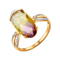 Золотое кольцо с фианитами и ситалом ДИ714095
