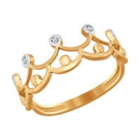 Золотое кольцо с фианитами ДИ016772