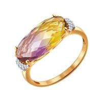 Золотое кольцо с ситалом и фианитами ДИ714194