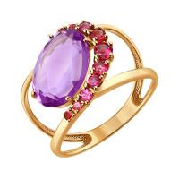 Золотое кольцо с аметистами и родолитами ДИ714205
