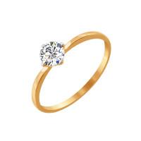 Золотое кольцо с сваровски ДИ81010206