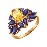 Золотое кольцо с цитринами и корундами сапфирами