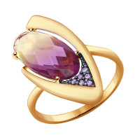 Золотое кольцо с ситалом и фианитами ДИ714347
