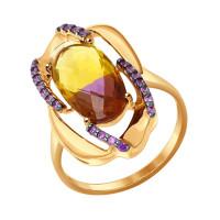 Золотое кольцо с фианитами и ситалом ДИ714358
