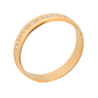 Золотое кольцо обручальное с фианитами СЧК284
