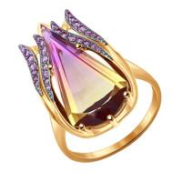 Золотое кольцо с ситалом и фианитами ДИ714365