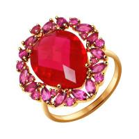 Золотое кольцо с корундами рубинами и родолитами ДИ714385