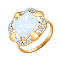 Золотое кольцо с опалами и фианитами ДИ714392