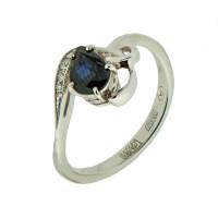 Золотое кольцо с бриллиантами и сапфиром АО11024-202