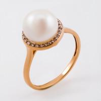 Золотое кольцо с жемчугом и бриллиантами ФЖ31353.1