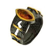 Серебряное кольцо с янтарем ЯН71131040
