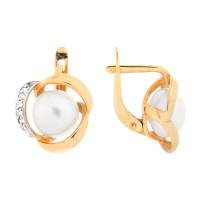 Золотые серьги с жемчугом ПЭ2901247Р