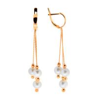 Золотые серьги подвесные с жемчугом ПЭПР606
