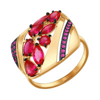 Золотое кольцо с корундами рубинами и фианитами ДИ714430