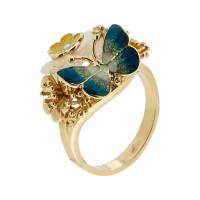 Золотое кольцо с бриллиантом, сердоликами и эмалью
