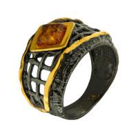 Серебряное кольцо с янтарем ЯН71131026