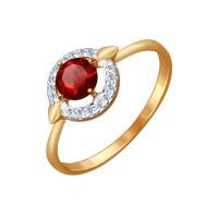 Золотое кольцо с гранатами и фианитами ДИ714455