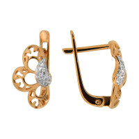 Золотые серьги с фианитами СЩ20063800
